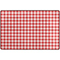 U LIFE Vintage Red Plaid Checkered Gingham Large Area Rug Runner Floor Mat Carpet for Entrance Way Doorway Living Room Bedroom Kitchen Office 36 x 24 & 72 x 48 Inch 3 x 2 & 6 x 4 Feet
