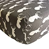 Danha Premium Fitted Cotton Crib Sheet With Deer Print – Standard Crib Mattress Size – Toddler, Kids Bedding – Woodland Animals Nursery Décor Theme – Ideal Baby Shower Gift For Infant Boys Or Girls
