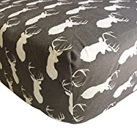 Danha Premium Fitted Cotton Crib Sheet With Deer Print – Standard Crib Mattre...