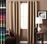 Light Blocking Curtains TURQUOIZE Solid Blackout Drapes, Semolina/ Wheat, Light Blocking, Grommet/Eyelet Top, Living Room Curtains Each Panel 52