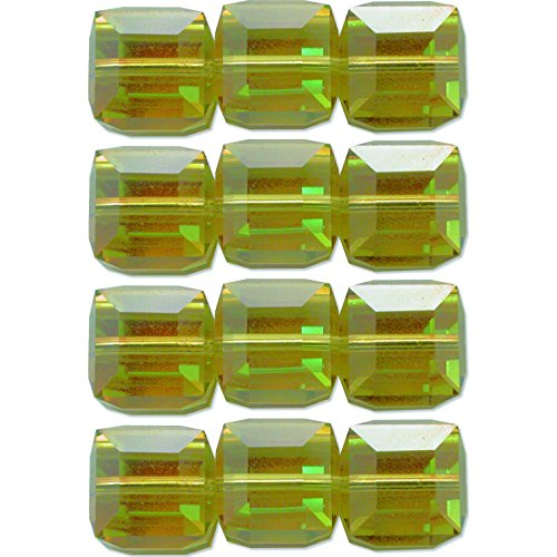 12 Lime AB Made With Swarovski Crystal Cube Square Beads 5601 4mm ()