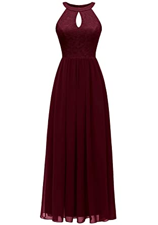 96628e354e8 Dressystar 0048 Halter Long Formal Maxi Party Dress Evening Prom Dress XS  Burgundy