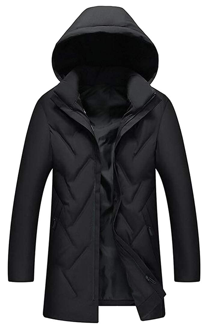 ARTFFEL Mens Hoodie Thick Winter Longline Down Quilted Coat Jacket Outwear