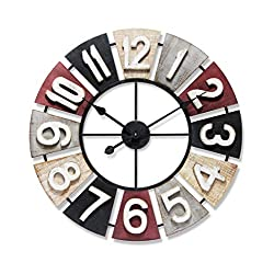 Infinity Instruments Windmill Wooden Multi-Color Wall Clock | 24 inch Decorative Multi-Color Large Wooden Metal Wall Clock | Sawtooth Easy Hang | Wall Decor Quartz Movement Metal Frame Easy to Read