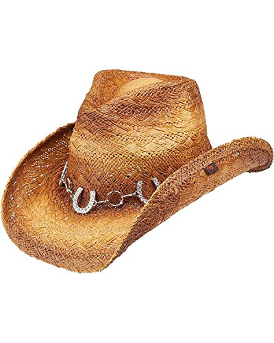 Peter Grimm Ltd Women's Judson Horseshoe Chain Straw Cowgirl Hat Brown One Size