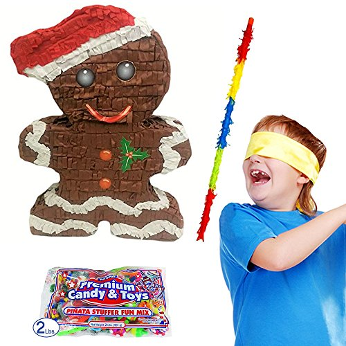 Gingerbread Man Christmas Pinata Kit Including Pinata, 2 lb Candy Filler, Buster Stick and Bandana