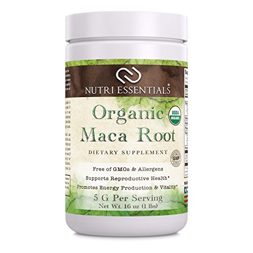 Nutri Essentials Organic Maca Root Powder 16 Oz – Supports Reproductive Health – Supports Energy Production & Vitality