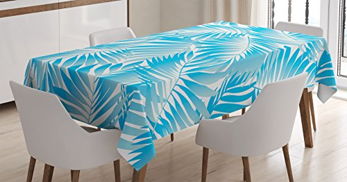 Leaves Decor Tablecloth by Ambesonne, Miami Style Tropical Aquatic Palm Leaves with Exotic colors Modern Summer Beach, Dining Room Kitchen Rectangular Table Cover, 52 X 70 (Party City Miami Lakes)