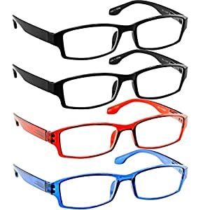 Reading Glasses _ Best 4 Pack _ 2 Black Red Blue for Men and Women _ Have a Stylish Look & Crystal Clear Vision When You Need It!_Comfort Spring Arms & Dura-Tight Screws_100% Guarantee +2.25