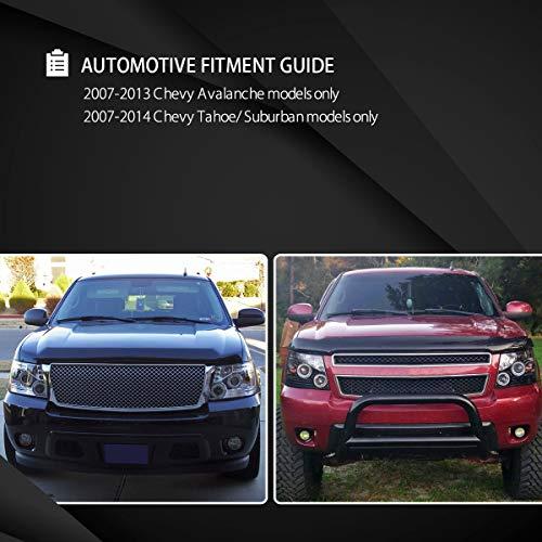 Autozensation For Chevy Avalanche Tahoe Suburban Slick Black LED Halo  Projector Headlights Pair
