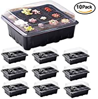 10 Sets Seed Trays, ARMRA Garden Plant Seedling Starter Germination Blank Labels and Seed Dispenser Kit with Drain Holes Efficiently Transfers Heat Promotes Root Growth (10 Trays, 12-Cells Per Tray)