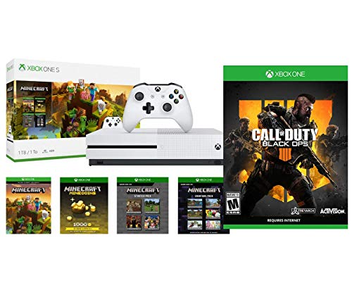 Xbox One COD Battle Royale Minecraft Creators Bonus Bundle: Xbox One S 1TB Minecraft Creators Console, White Wireless Controller and Call of Duty Black Ops 4 Game