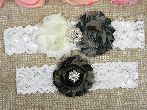 Camo Wedding Garter Set, Bridal Garter Belt, Ivory and Camouflage Garter, Keepsake and Toss Stretch Lace Garters by PCB Studio