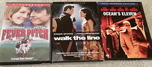 Lot of 3 Movie DVDs Fever Pitch, Walk the Line, Oceans Eleven