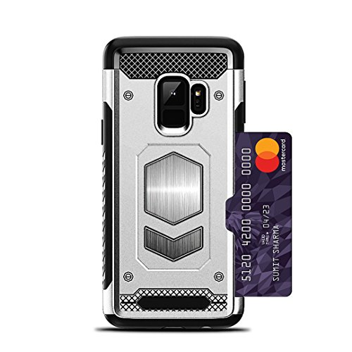 Jazliv [Gun Metal Series] Heavy Duty Protector [Wireless Charging Ready]+[Magnetic Car Mount Ready] with Slim Card Holder (Wallet), Raised TPU for Screen Protection (Silver) Compatible with Galaxy S9 by JazLiv (Image #2)