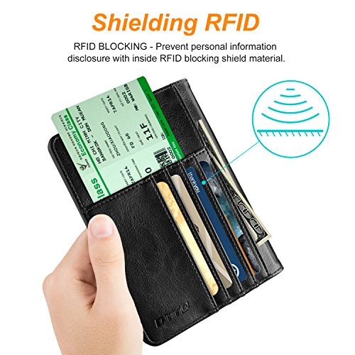 DTTO RFID Blocking Passport Cover, Multi-functional Premium Leather Passport Holder Travel Wallet Cover Case - Black by DTTO (Image #2)