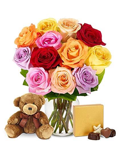 Gifts - One Dozen Rainbow Roses with Chocolates & Bear