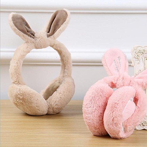 Rabbit Bowknot (VNDEFUL Pink Lovely Rabbit Ear Bow-knot Rabbit Hair Warm Ear Cover Lady Winter Cold)