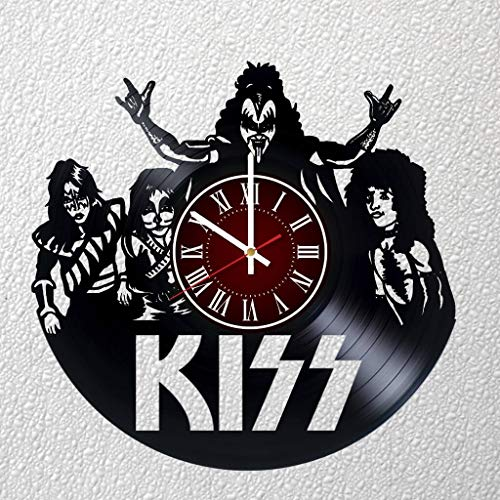 KISS Rock Band 12 inches / 30 cm Vinyl Record Wall Clock | Fan Gift | Music Clock | Children