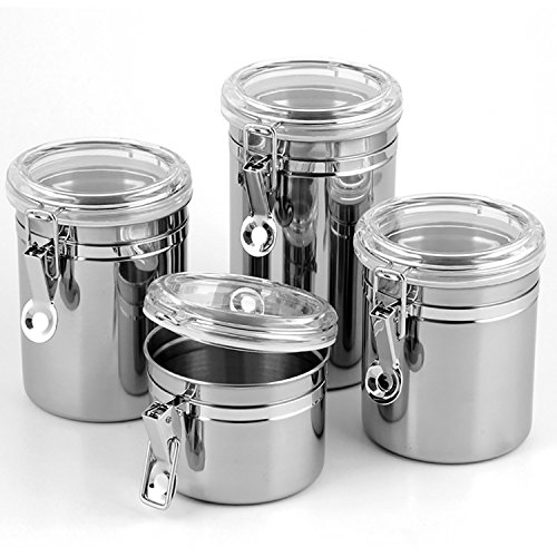 Canister Set Stainless Steel - 5-Piece with Airtight Clamp Lids and Scoop (Small Kitchen Canister)