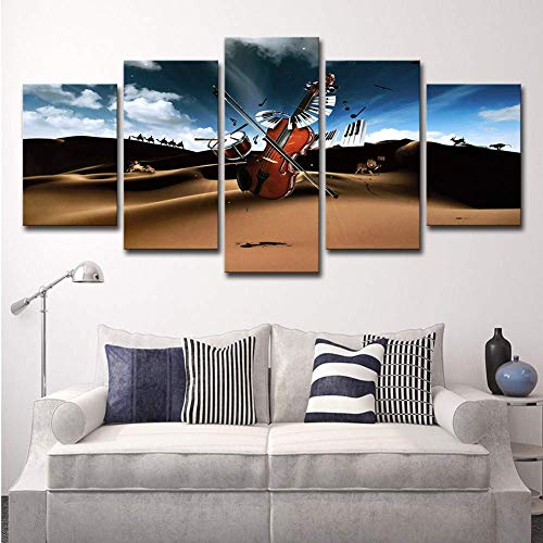 5 Piece Canvas Prints The Rock Band Drum and Violin Pictures Paintings for Modern Artwork Home Wall Art Decor Music Poster,A,20x30x2+20x40x2+20x50x1