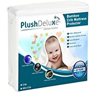PlushDeluxe Crib Mattress Protector 100% Waterproof, Hypoallergenic, Vinyl Free - Bamboo Quilted Ultra Soft White Terry Fitted Sheet Style