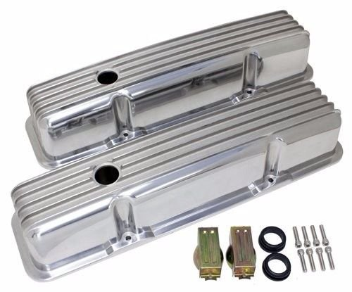 - Retro Finned Polished Aluminum Tall Valve Covers For 58-86 SBC Chevy 327 350 400
