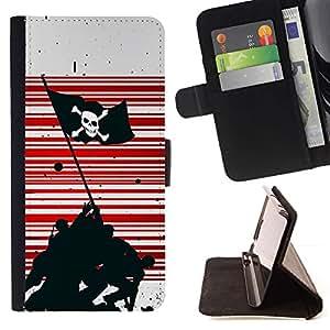 Momo Phone Case / Flip Funda de Cuero Case Cover - Pirata Guerra Bandera;;;;;;;; - Samsung Galaxy E5 E500
