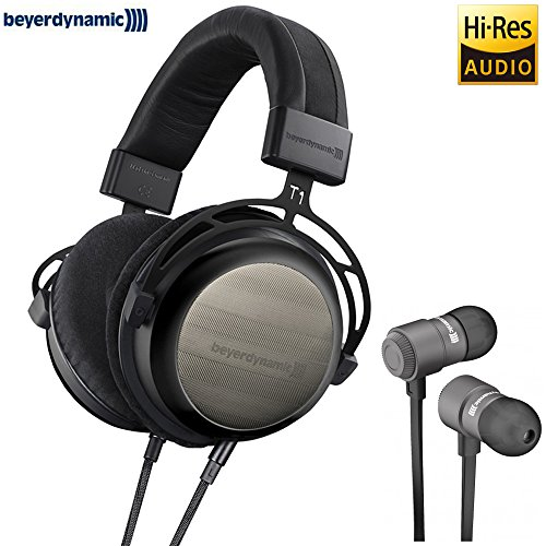BeyerDynamic 718564 T1 Second Generation Stereo Headphone (Special Edition Black) with BeyerDynamic Byron Bluetooth Wireless In-Ear Headset for Mobile ()