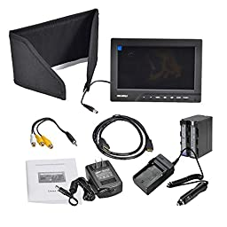 Feelworld FW689 7.0 inch HD HDMI VGA Input LCD Video Monitor 800*480 up to 1920x1440 + Battery Pack For F960 F970 & Car Charger for Sony,Canon,Nikon DSLR Camera Camcorder