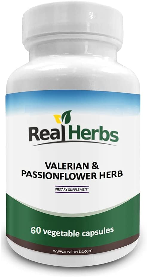 Real Herbs Valerian Root Pure Extract 4:1 400mg and Passion Flower Powder 300mg - 700mg - Natural Sleep Aid, Promotes Calmness and Peace of Mind - 60 Vegetarian Capsules - Gluten Free