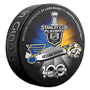 2017 NHL Stanley Cup Playoffs 2nd Round St. Louis Blues v Nashville Predators Dueling Souvenir Hockey Puck