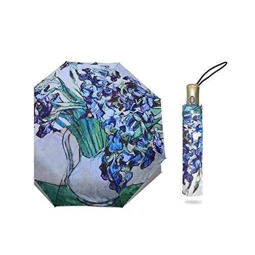 Folding Umbrella Windproof Paraguas Oil Painting Umbrella,vase with lrises ()
