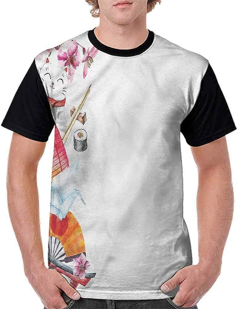 Loose T Shirt,Origami Sakura Sushi Lantern Fashion Personality Customization