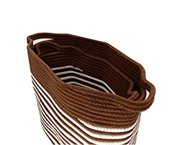 Cotton Rope Storage Baskets with Easy-Grip Handles, Coffee Color Stripe, Nursery Bins,Closet Organization, Toy Storage,Laundry Hamper, SET of 2, Soft Durable by Wisdom Forest