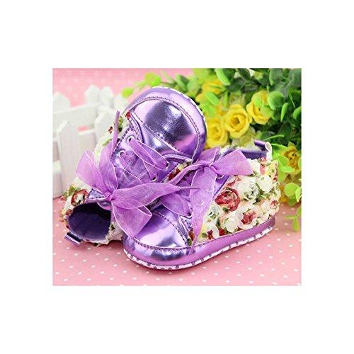 Zapato suave Basket Montante bebé de 0a 12meses, Modelo Encaje Morado 3/6Meses, 6/9Meses, 9/12Meses morado morado Talla:9/12 mois