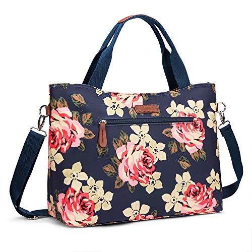 Laptop Tote Bag, UtoteBag 15.6 Inch Women Laptop Shoulder Bag with Flower Ultralight Briefcase for Work Office/Travel/School, Compatible Notebook, MacBook, Ultrabook and Chromebook(Dark Blue) (Flower Laptop Bag)