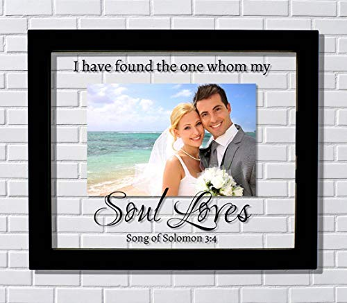 (I have found the one whom my soul loves - Song of Solomon 3:4 - Floating Photo Picture Frame - Wedding Gift Bride Groom Romantic Present)