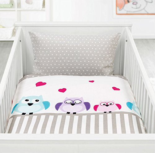 Kinderbettwäsche Baby Bettwäsche Renforce 100% Baumwolle 100x135 - 311661 (Eule)