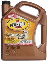 Pennzoil 550038203 High Mileage Vehicle 10W40 Motor Oil (SN) 5qt jug
