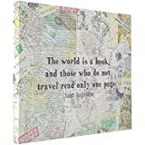 Wall Art The World Is A Book Travel Quote 10x8 Canvas Print