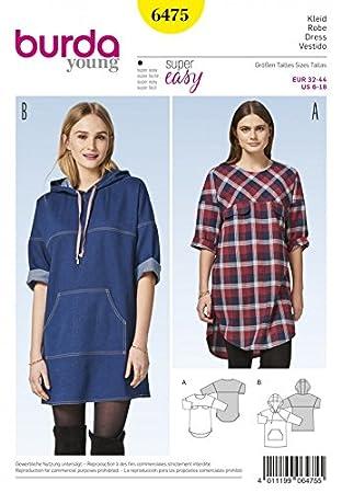Burda Damen Schnittmuster 6475 legere Kleider mit Kapuze: Amazon.de ...