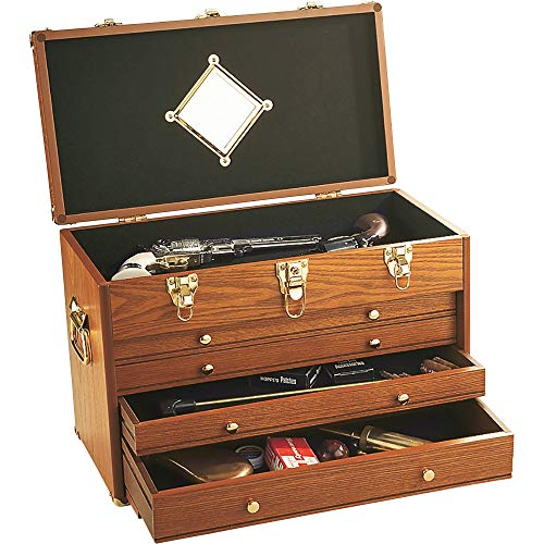 - 4-Drawer Collector's Chest Cabinet, Oak Finish, 20in.W x 10.5in.D x 13.5in.H