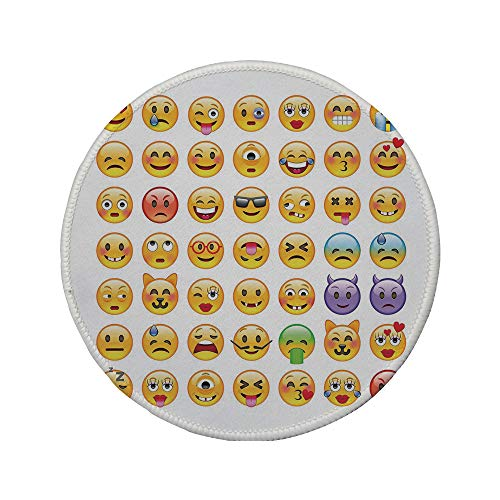 Non-Slip Rubber Round Mouse Pad,Emoji,Set of Emoticons with Various Expressions Alien Vomiting Beaten Up in Love Vampire Decorative,Multicolor,11.8