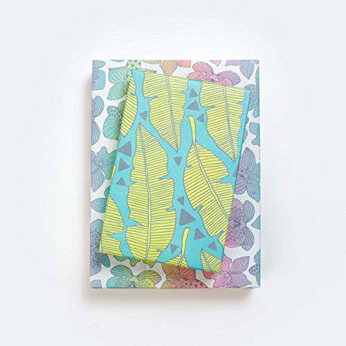 - Tropical Banana Leaves/Rainbow Orchids Wrapping Paper (3-Sheets) - Double-Sided & Eco-Friendly Gift Wrap