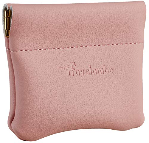 Travelambo Leather Squeeze Coin Purse Pouch Change Holder For Men & Women (Access Pink Lotus) ()