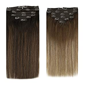 Sunny Balayage Hair Extensions Clip in Human Hair 7pcs 120g Balayage Clip in Hair Extensions Human Hair Double Weft Clip…