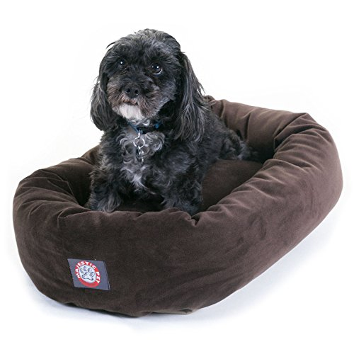 40 inch Chocolate Suede Bagel Dog Bed By Majestic Pet Products