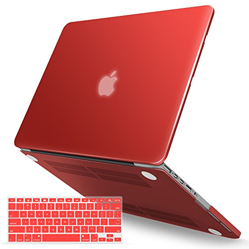 iBenzer Macbook Pro 13 Inch Case 2012-2015, Soft Touch Hard Case Shell Cover with Keyboard Cover for Apple MacBook Pro 13 with Retina Display A1425 1502, Aurora Red, MMP13R-MARD+1