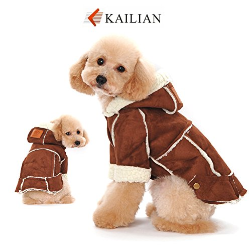Kailian Dog winter Jacket Puppy Hooded Coat, Dog Apparel,Dog Snowsuit, Faux Shearling Fabric Coat Cotton Clothes Brown-XL
